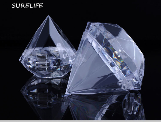 24pcs Clear Diamond Boxes Candy Box Wedding Favor Gift Box Transparent Plastic Box Wedding Favours Souvenirs For Guests