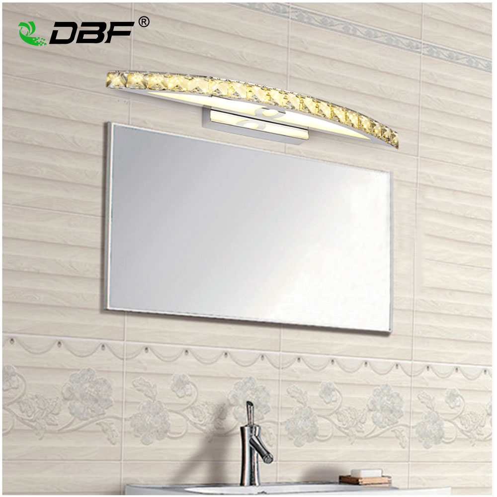 10W 15W Waterproof LED Bathroom Vanity Crystal Wall Light Mirror Light Stainless Sconces Indoor Crystal Mirror Wall Lamp 44/54cm dvolador luxury crystal led mirror front light 10w 15w ac110 220v bathroom waterproof anti fog led stainless steel wall light