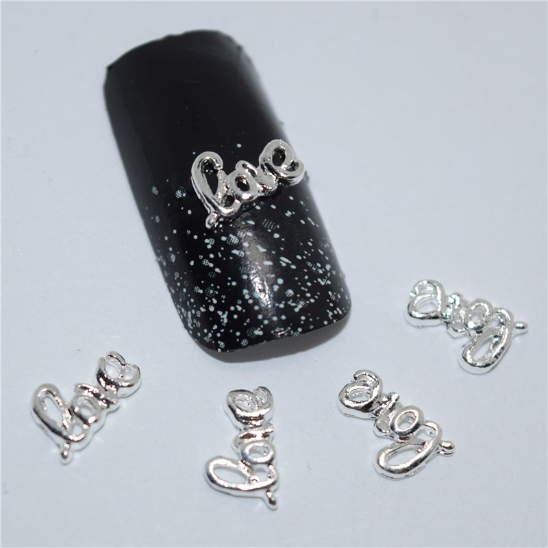 10psc New Silver LOVE letters 3D Nail Art Decorations,Alloy Nail Charms,Nails Rhinestones  Nail Supplies #384 10psc new pearl colored flow glitter rhinestones 3d nail art decorations alloy nail charms nails rhinestones nail supplies 687