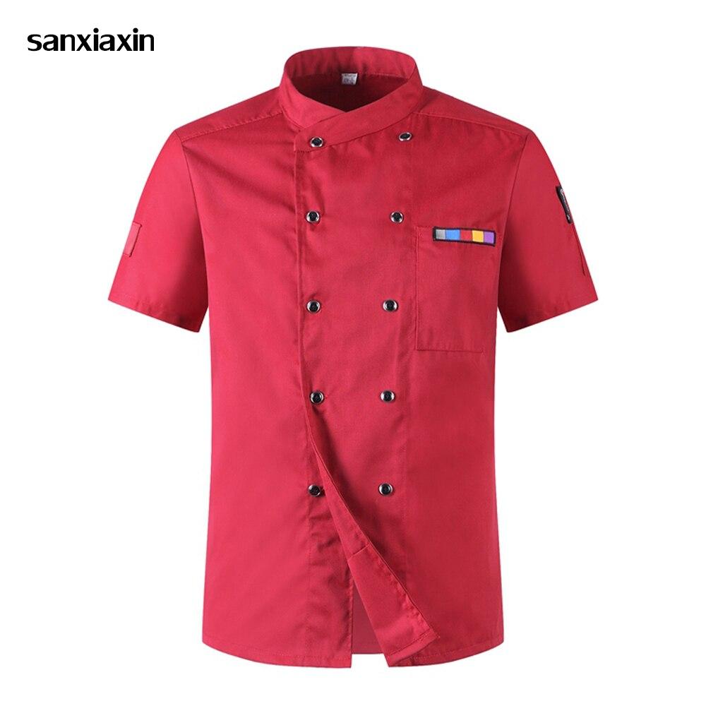 Sanxiaxin Wholesale Chef Jacket Hotel Sushi Uniform Short Sleeve Unisex Breathable Workwear Shirt Hotel Uniform Chef Uniforms