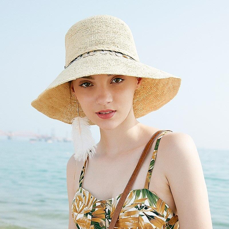 Chapeau de paille femme raphia été Protection solaire visière plage chapeaux femmes crème solaire large Eave pliable casquette réglable Cool Caps H6639
