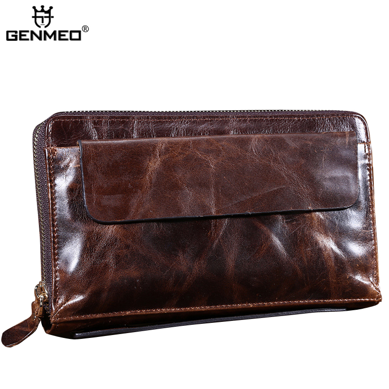 купить MAIFEINI Vintage Crazy Horse Cow Leather Wallets Men Genuine Leather Phone Pocket Clutch Money Bag Card Holder Coin Purse недорого