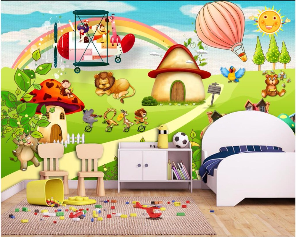 background taman bermain kartun kustom foto mural 3d wallpaper kartun hewan taman bermain anak