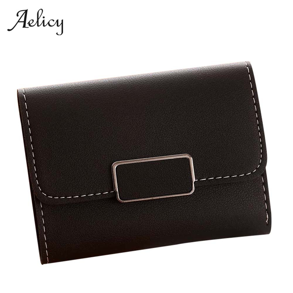 Aelicy Brand 2018 New Fashion Simple Casual Women Wallet Women Short Coin Purse Solid Standard Wallets Carteira Portemonnee HOT