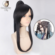 60cm Anime D.Gray-man Yu Kanda Straight Long Black Cosplay Wig Synthetic Hair Halloween Costume Party Wigs With Claw Ponytail цена 2017