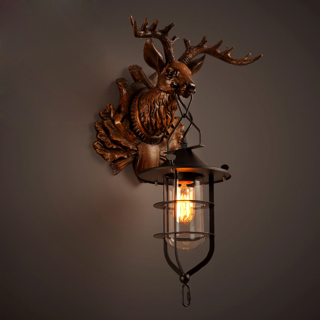Antique Art Creative Brief Buck Wall L& Office Bar Wall Light Fitting Vintage Loft Antler Wall & Antique Art Creative Brief Buck Wall Lamp Office Bar Wall Light ...