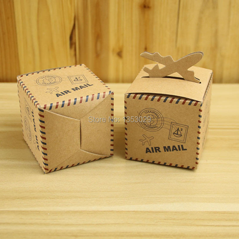 Wedding Favors Air Mail Plane Aircraft Airplane Kraft Candy Box Gift Boxes Travel theme wedding decoration mariage 100pcs