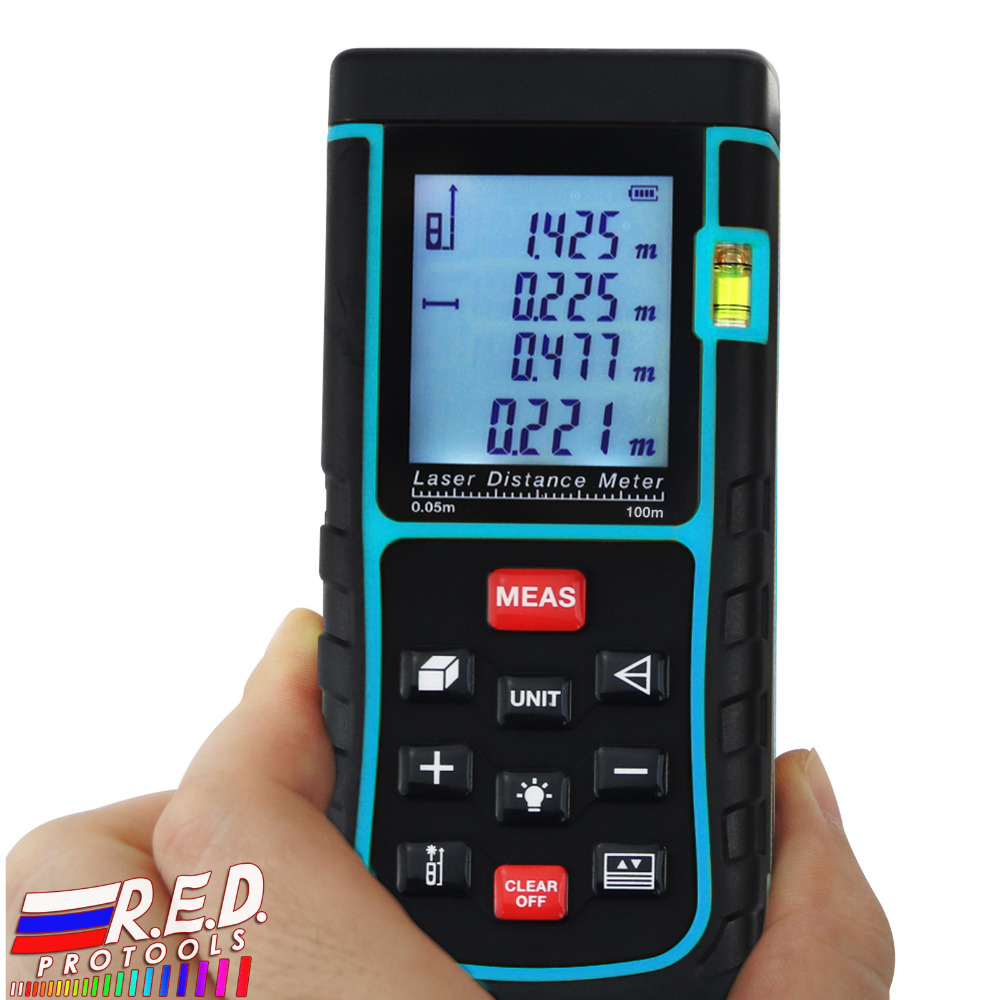 100 Meter Digital Laser Distance Area Volume Pythagorean w/ Spirit Level Industrial Construction Use Measurer Range Finder Tool ms6450 ultrasonic range finder laser distance meter length area volume measurer