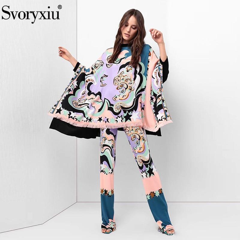 Svoryxiu Women s Fashion Runway Pants Suits Elegant Print Tassel Batwing Sleeve Loose Tops Flare Pants
