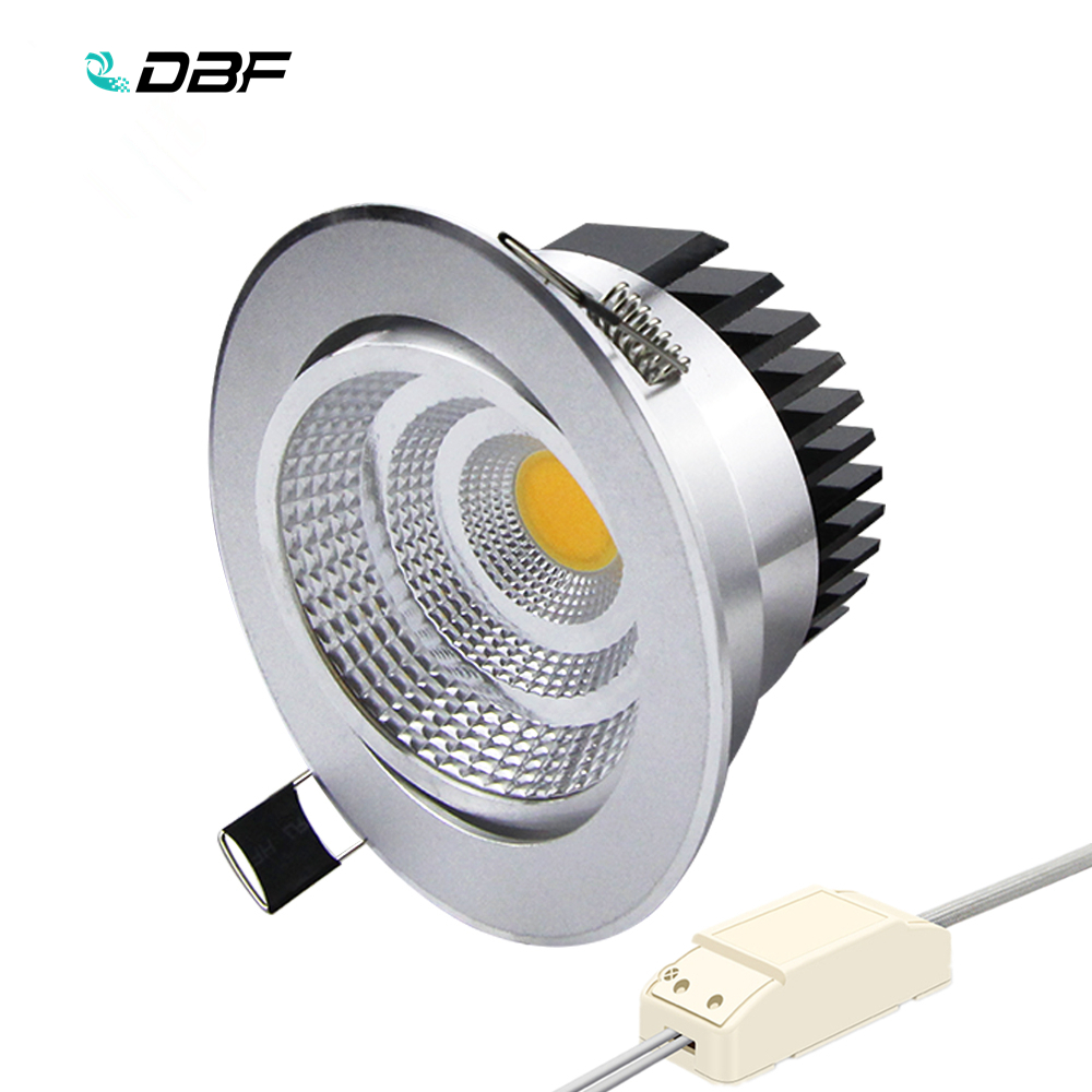 [DBF]Silver Housing LED COB Downlight Dimmable AC110V/220V 6W/9W/12W/15W/18W Recessed LED Spot Light Decoration Ceiling Lamp