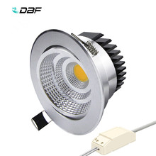 [DBF]Silver Housing LED COB Downlight Dimmable AC110V/220V 6W/9W/12W/15W/18W Recessed LED Spot Light Decoration Ceiling Lamp(China)