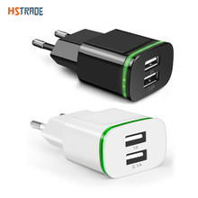 Mobile Phone Universal charger 2 Port USB LED Light wall charger For Samsung Xiaomi redmi Huawei ipad iphone 2A power adapter