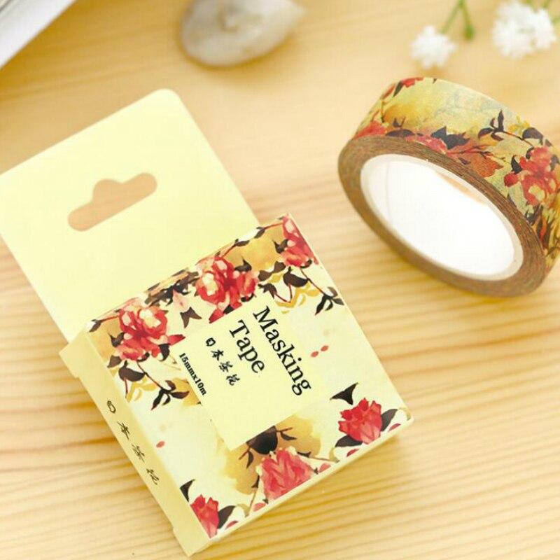 1 Pcs New 1.5CM Wide Autumn Japan Camallia Flowers Adhesive Tape DIY Scrapbooking Sticker Label Masking Tape