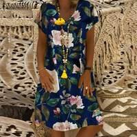 2019 ZANZEA летнее платье женское винтажное цветочное хлопок и лен с принтом Vestido Robe Kaftan Femme V шеи короткий рукав вечернее платье