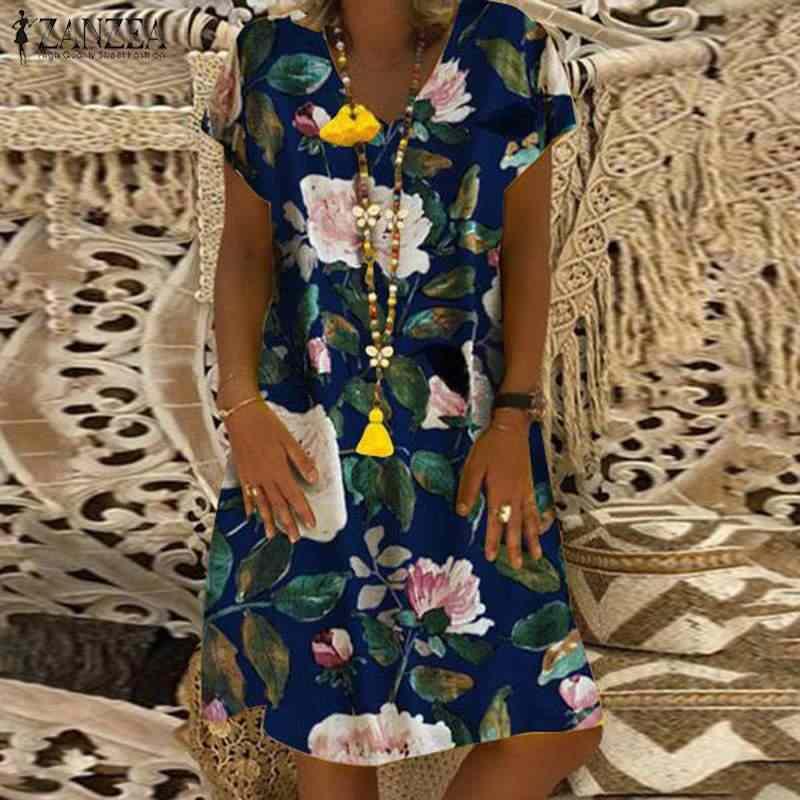 2019 ZANZEA осеннее платье женское винтажное цветочное хлопок и лен с принтом Vestido Robe кафтан Femme V шеи длинный рукав вечернее платье
