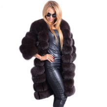 FL New Brand 90cm Genuine Fox Fur Coats Women Real Fur Jacket Warm Long Nine Quarter Sleeves Female Natural Fox Fur Coat Ladies