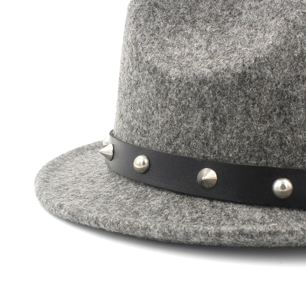 374b8530194 100% Wool Women Men Fedora Hat For Winter Autumn Elegant Lady Dad Cashmere Trilby  Homburg Church Jazz Hat With Punk Belt-in Fedoras from Apparel Accessories  ...