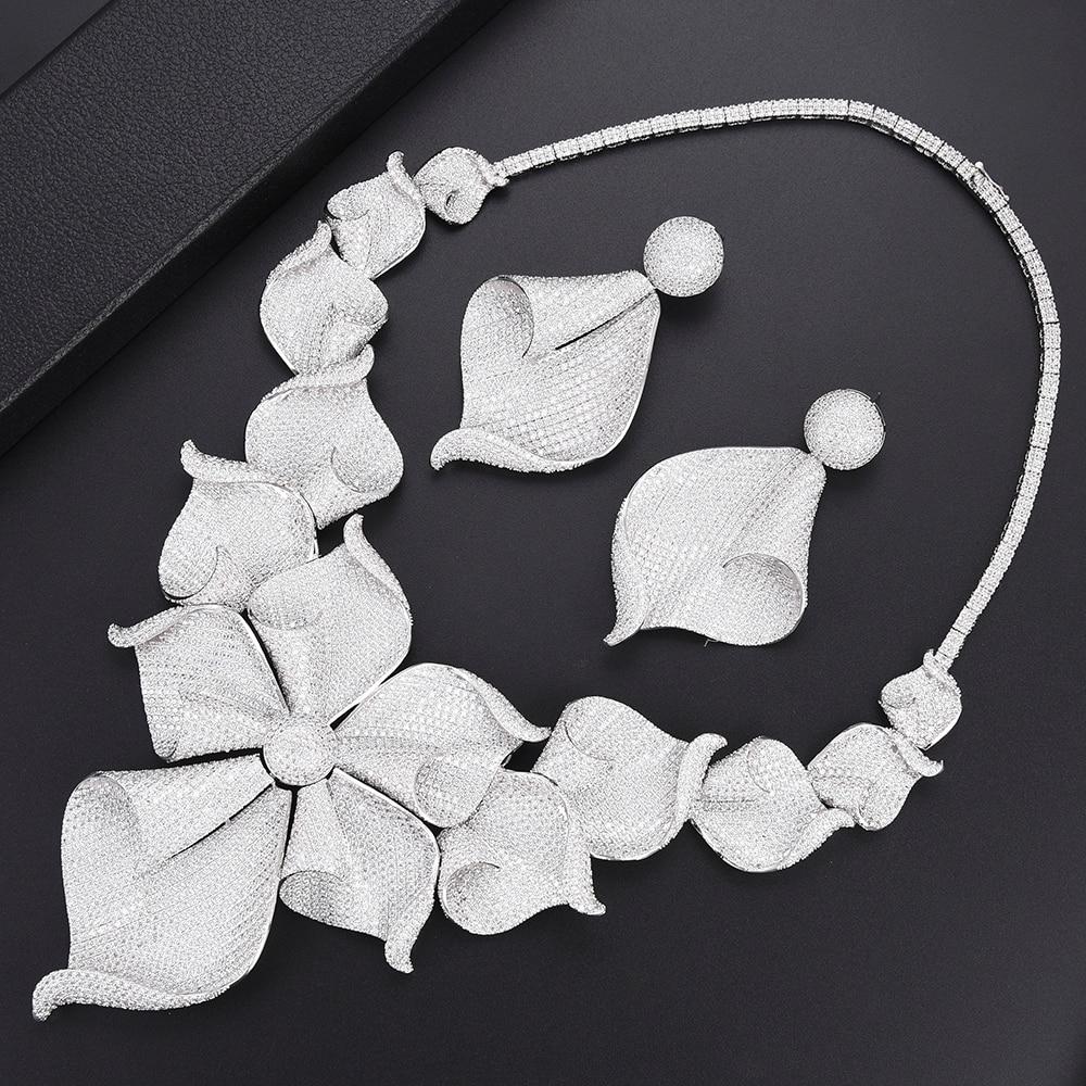 Ki Luxury Cubic Zirconia Silver Necklace Earring Set African Nigerian Wedding Jewelry Sets For Women Dubai