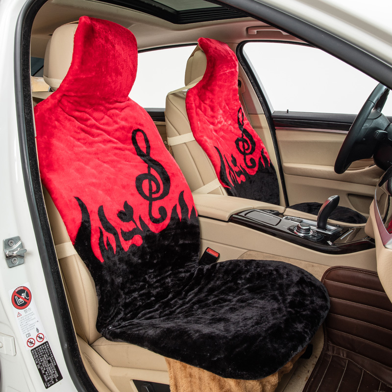 Note Pattern Faux Fur One Front Car Seat Covers Autumn Winter Interior Accessories Keep Warm Red Yellow Plush Pad Cover Wholesale