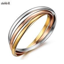 Brand Jewelry Stainless Steel Friendship Bracelets Bangles 3 Colors Trinity Love Rose Gold Bracelet Boho Bangles for Girls Women