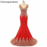 Forevergracedress Vintage Fotos Reales Rojo Vestido de Noche de La Sirena Cuello En V Apliques Backless Del Partido Largo Del Vestido Más El Tamaño Por Encargo