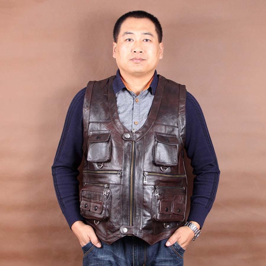 Erkek Kıyafeti'ten Jileler ve Yelekler'de Yeni Varış Hakiki Deri Yelek Erkek Kolsuz Ceketler Cepler Yelekler Yelek Sonbahar Kış Koyu Kahverengi L 6XL'da  Grup 1