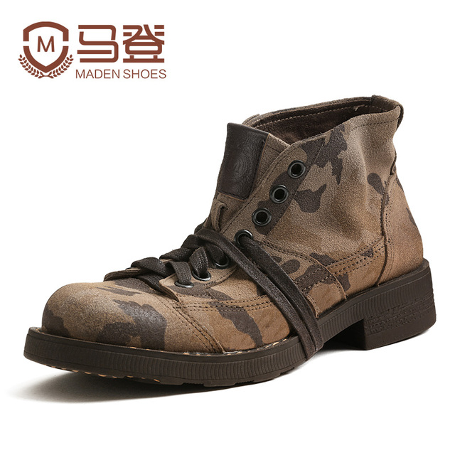 Maden Brand 2017 Camouflage Men Martin Boots British Style Military Boots Cow Leather Winter Boots High Tops Motorcycle Boots