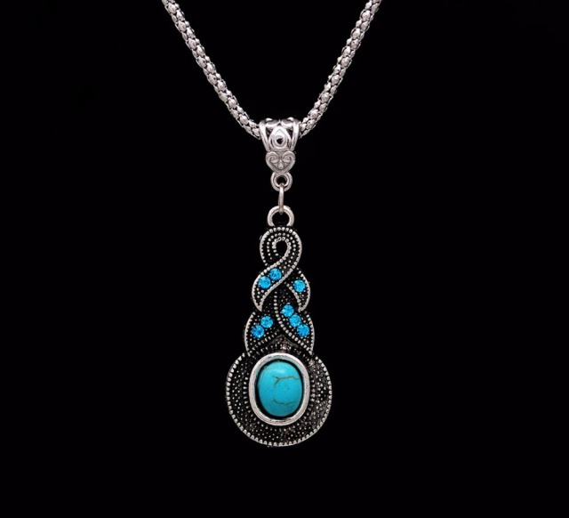 Crazy Feng Fashion Jewelry Hot Sale Ethnic Blue Stone Jewelry Sets Tibetan Silver Necklace 2