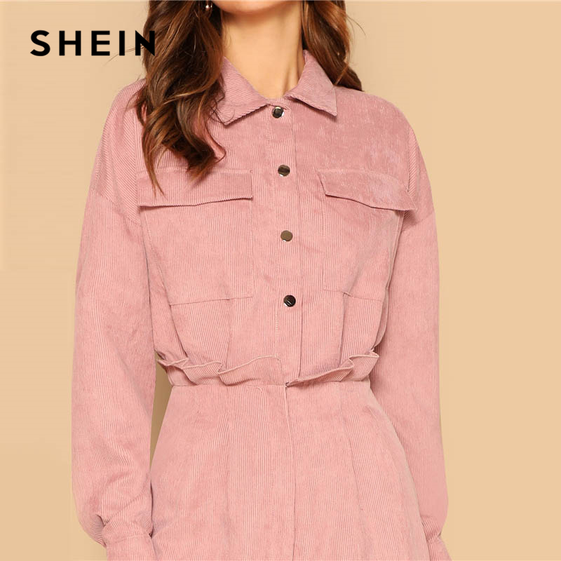 567fb52d3c SHEIN Pink Waist Flap Pocket Corduroy Placket Shirt Romper Women Long  Sleeve Collar Playsuit Spring Preppy Casual Solid Rompers-in Rompers from  Women's ...