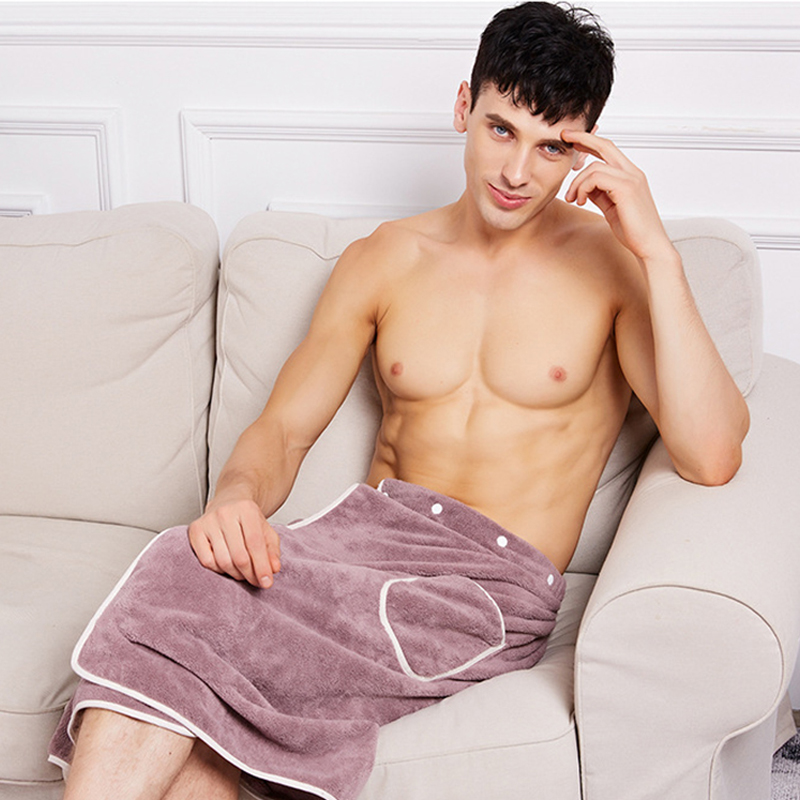 Fashion Style Men Bath Towel With Pockets Comfortable Male Towel Blanket Wearable Magic Button Soft Swimming Beach Bath Towels