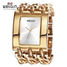 WEIQIN Marca de Lujo de Oro de Las Mujeres Pulsera Relojes de Señora de la Moda A Prueba De Agua Vestido Reloj Mujer Reloj de Cuarzo Horas Relogio Feminino