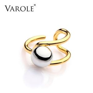 Image 2 - VAROLE moda podwójna linia Knotting Midi pierścienie dla kobiet złoty kolor srebrny 100% miedzi Anillos pierścień biżuteria Bagues Mujer Anel