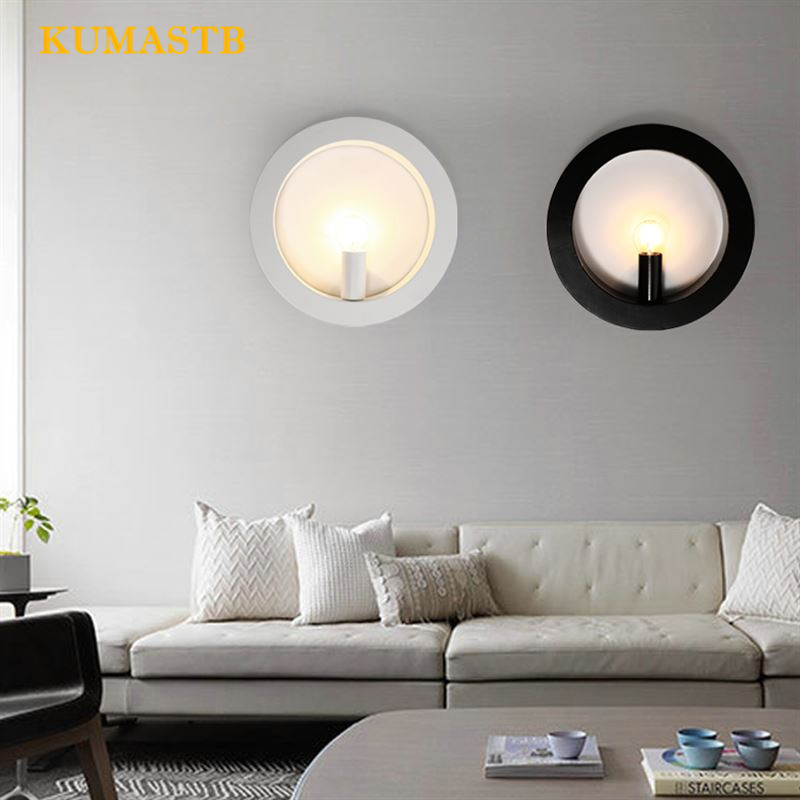 Nordic Creative Round Wall Lighting Modern Bedroom Aisle Bedside Wall Lamp Living Room Stair Round Art Wall Sconce european style simple modern art small round wall lamp living room bedroom aisle study room sconce wall lights led aluminium