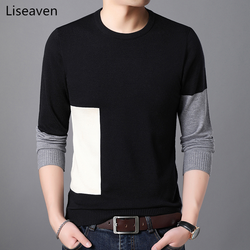 Liseaven Mens Pullover Sweater Patchwork Pullovers O-neck Cashmere Sweaters Men's Clothing