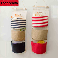 Home Organiser Storage Bags with 3 Pockets Retro Cotton Fabric Bathroom door Wall Decorating Hanging Pocket Sundries organizador