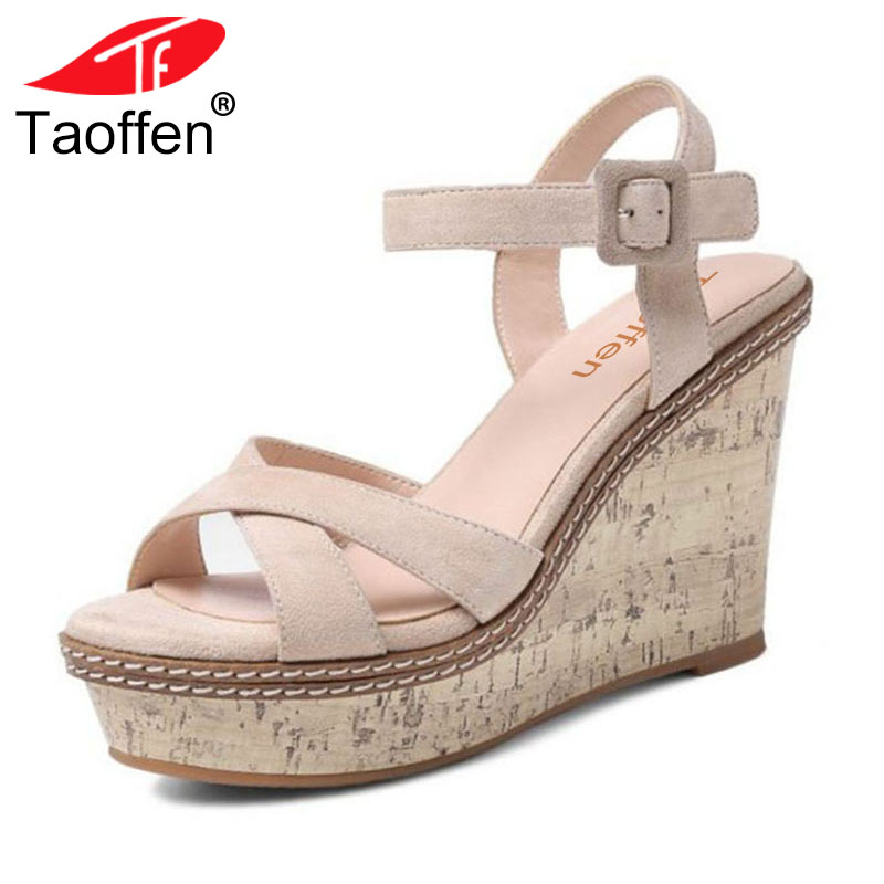 TAOFFEN Women Wedding Real Genuine Leather High Wedges Sandals Ankle Strap Peep Toe Sandals Platform Summer Shoes Size 34-39 taoffen women high heels sandals real leather peep toe shoes women buckle clear thick heel sandals daily footwear size 34 39