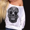Fashion Female Long Sleeve Top T-Shirt Women Large Size Bat Shirt Print Skull The Walking Dead Vogue T Shirt Harajuku Punk Tees