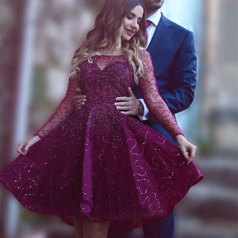 Vino Tinto elegante Vestidos de Baile Con Manga Larga de Cuello ...