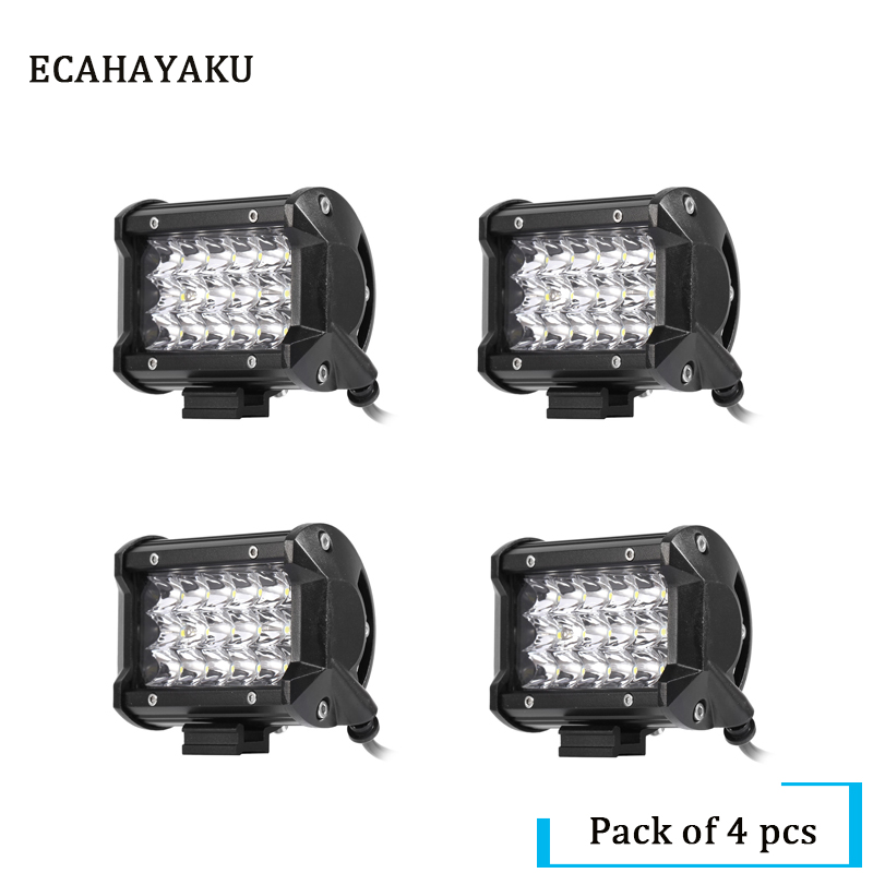 ECAHAYAKU 4Pcs Three rows 5inch LED Light Bar 54W Spot Lamp 12V 24V IP68 for ATV SUV Work Light Truck Led Work Light Bar Offroad