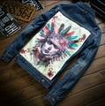 mens denim jacket brand 100%cotton casual mens jean jacket dark blue solid coat male mens clothing fashion 8890