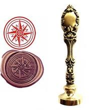 Compass Sealing Vintage Custom Picture Logo Luxury Wax Seal Sealing Stamp Brass Peacock Metal Handle Gift