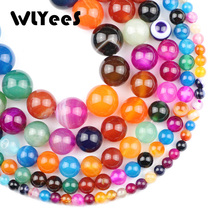 WLYeeS Mixed color Stripe banded carnelian Natural Stone Round Beads 4 6 8 10 12mm Ball Jewelry Bracelet Necklace Making DIY 15