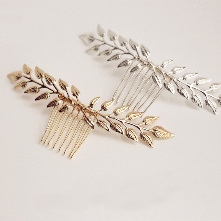 Dower me Simple Wedding Hair Comb Gold Silver Leaf Bridal Hair Vine Accessories Women Headwear Crown