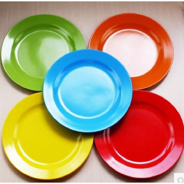 Food Plate Dinner Service 25cm Pigmented Dinner Plates Plastic Dish Round Plate Flat Dish Tableware Service & Food Plate Dinner Service 25cm Pigmented Dinner Plates Plastic Dish ...