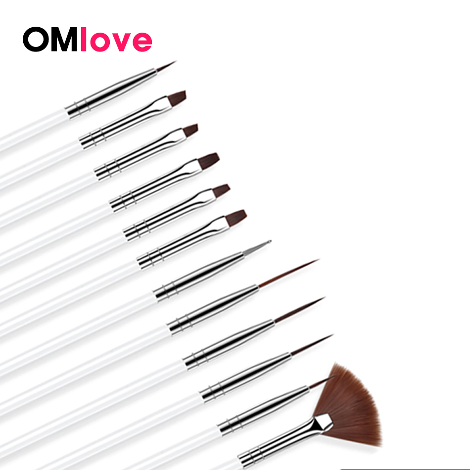 OMlove 12Pcs/Set Acrylic Nail Art Brush For Nail Gel Handle Builder Flower Painting Drawing Brush Manicure Gel Nail Accessories