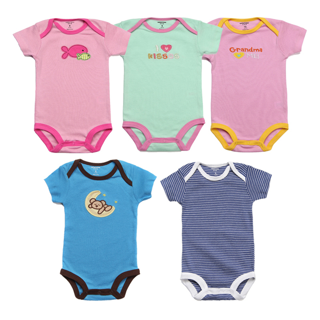 4036484f4 5Pcs Baby Rompers Summer Baby Girl Clothes Roupas Bebe Newborn Baby Clothes  Cotton Baby Boy Clothing Sets Infant Jumpsuits