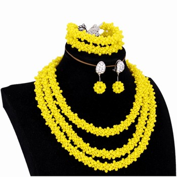 Trendy Jewelry Set Dubai Gold Yellow Earrings Necklace Set Wedding Bridal Jewellery Set for Women Free Shipping 2018 Indian