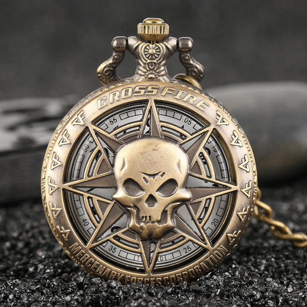 Vintage Bronze Steampunk Hollow Carribean Pirate Skull Head Horror Quartz Pocket Watch With Chain For Girls And Women