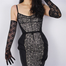 Woman Lace Long Gloves High Elastic Black Silk Mesh Extra White Red Vestido de novia Touch Screen Mobile 65cm TB115