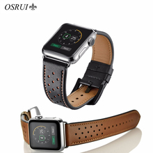 цена на OSRUI Leather strap For Apple Watch Band 4 44mm 42mm iwatch band correa aplle watch 42mm 38mm wrist bracelet belt series 4 3 2 1